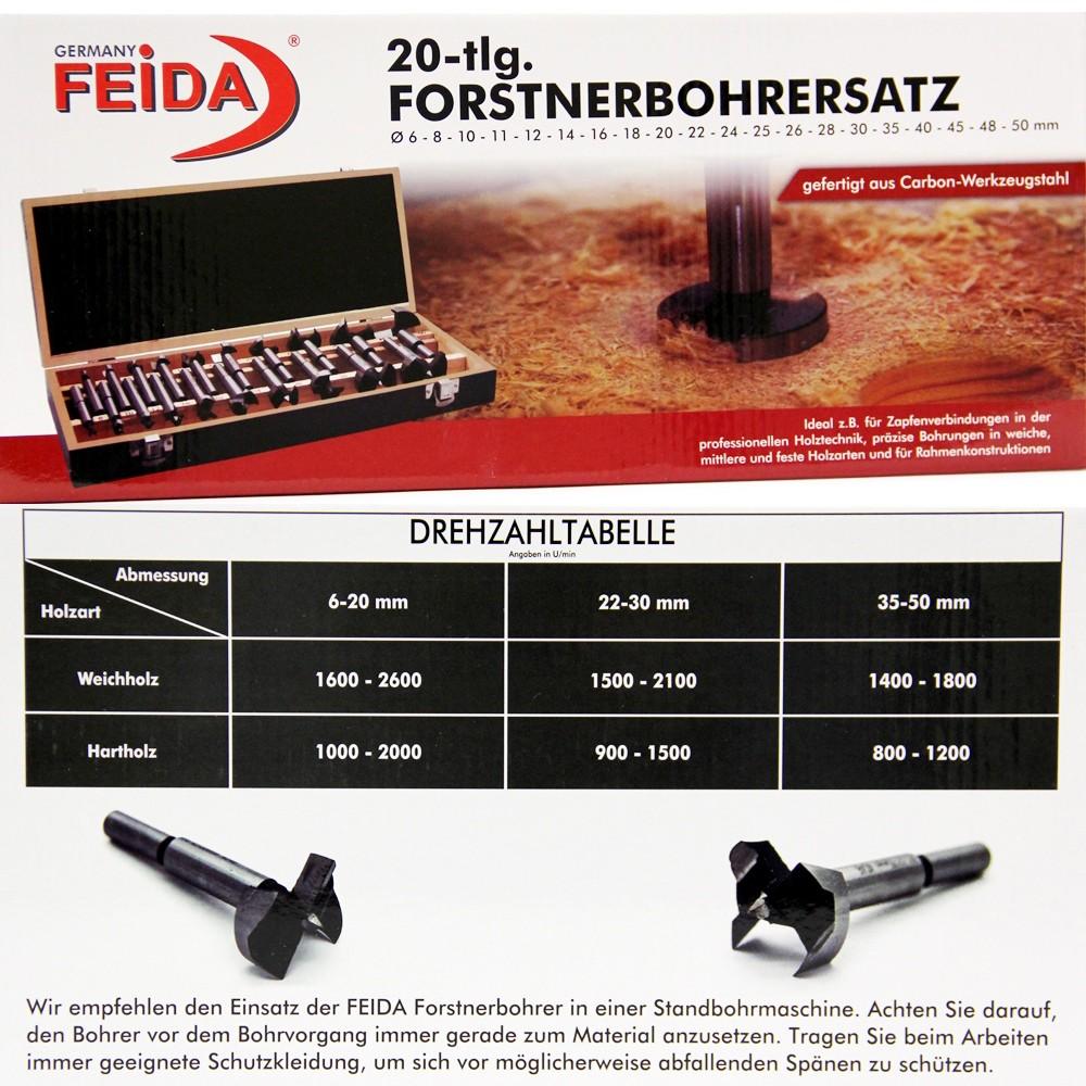 Häufig Forstnerbohrer Satz 20 teilig Holz Bohrer 6 bis 50mm inkl ZU08
