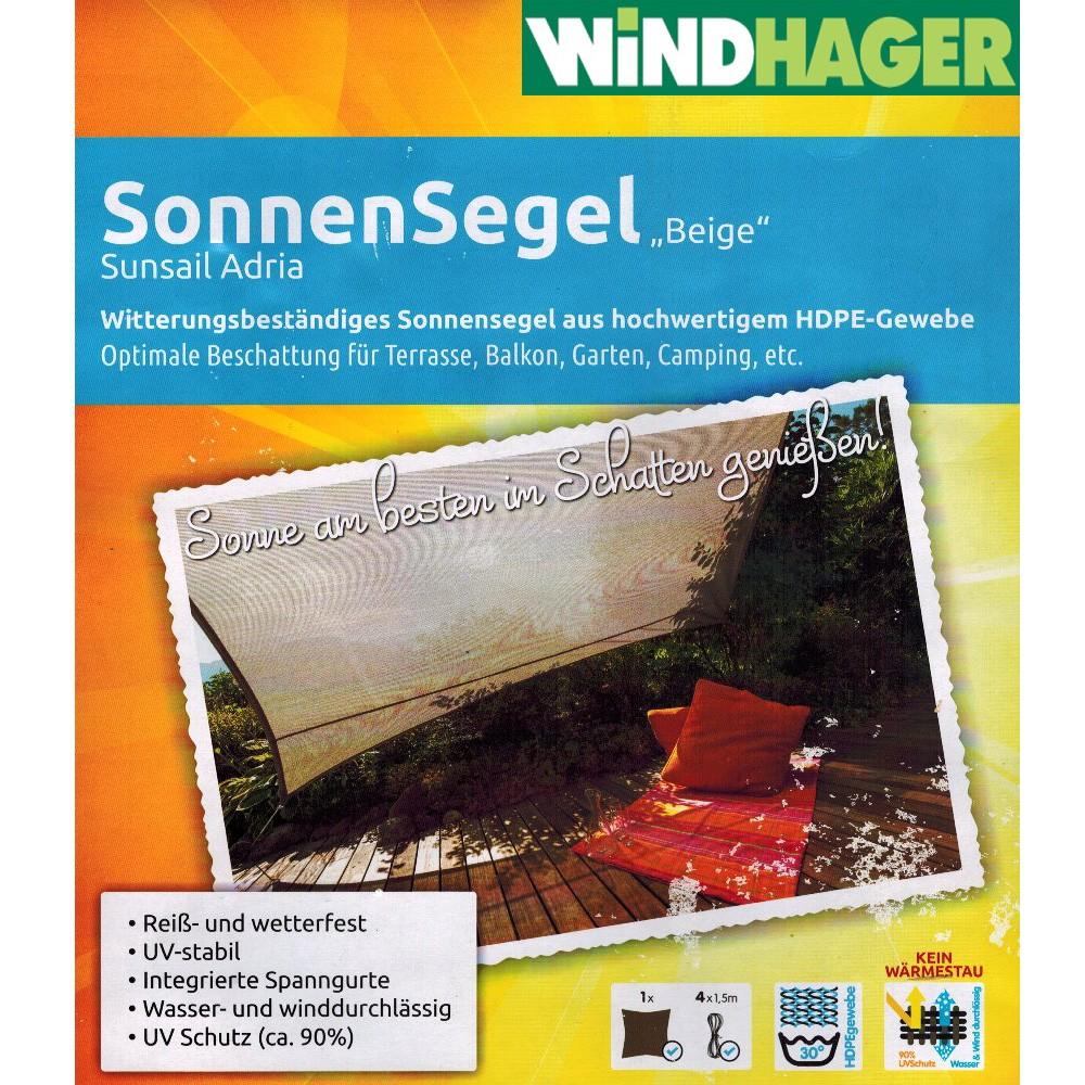 Sonnensegel Quadrat 3,6x3,6m Beige Beschattung Sonnenschutz Segel Windhager