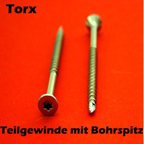 Torx Edelstahl Holzschrauben V2A Spanplattenschrauben A2 Ø 3,5- 6mm Rostfrei